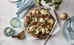 Pesto Lamb Caprese Pizza
